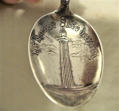 "ANTIQUE c.1890 5 3/8"" LEE MONUMENT NEW ORLEANS STERLING SILVER COLLECTOR SPOON"