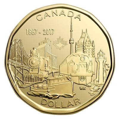CANADA 2017 CONNECTING A NATION  BU UNC $1 ONE DOLLAR LOONIE from Mint Roll