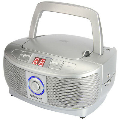 Groov-e Mini Boombox, Portable CD Player with Radio, 2.4W, Carry Handle, Silver