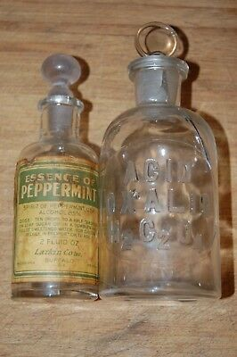 Antique Apothecary Bottles Cut Glass Stopper Essence Peppermint Oxalic Acid