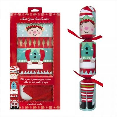 6 Pack Elf Make Your Own Christmas Crackers Snaps Jokes Hats Kit Set New Xmas
