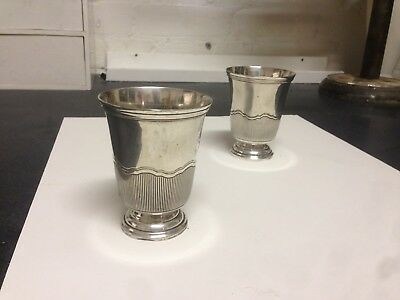 Pair of solid Silver beakers Timbales Argent Massive Cardeilhac