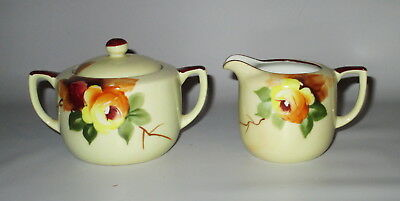 Noritake Creamer + Lidded Sugar Bowl Hand Painted Yellow Rose Red M in Wreath