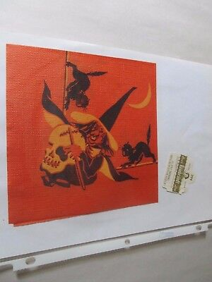 Vintage  Halloween Napkin  Paper Reed's Witch, Skull, Black Cats On Brooms