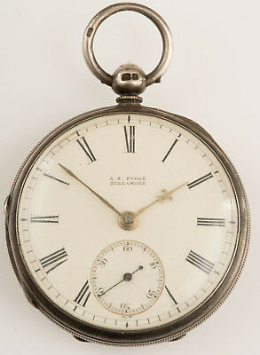 Antique Silver As Poole Tullamore English Lever Fusee Pocket Watch!
