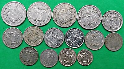Lot of 15 Different Old Ecuador Coins 1919-1974 Vintage South America !!