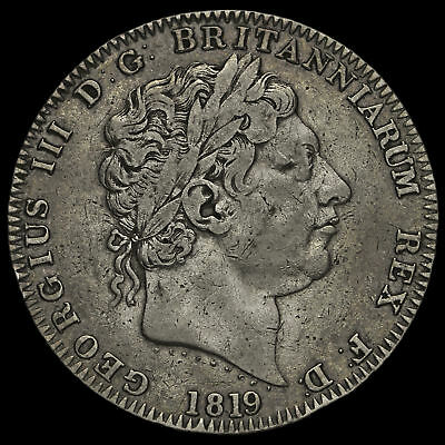 1819 George III Milled Silver LX Crown, GF