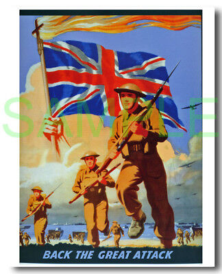 Back the Great Attack framed repro poster WW2 illustrating D-Day landings
