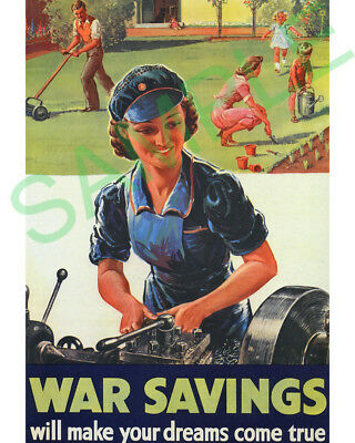 War Savings framed repro poster WW2 lathe machinist