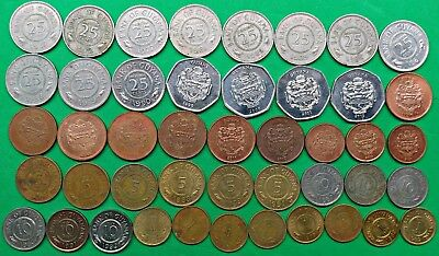 Huge Lot of 45 Different Guyana Coins 1967-2013 Vintage South America !!
