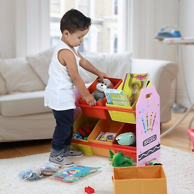 Toddler Size - Crayon Themed by Bebe Style - Kid's Toy Storage Organizer 6 Bins.