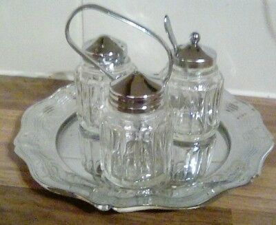 Vintage style cruet set salt n pepper and mustard pot with tray and handle