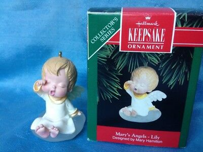 1992 Hallmark Mary's Angels Lily 5th In Series Christmas Ornament Mint in box