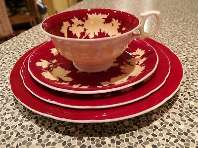 Wedgwood Bone China Cup & Saucer Trio & Sale Plate Ruby Red