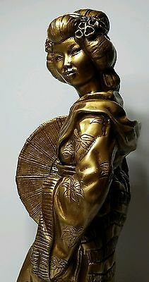 "Beautiful 22"" Tall Japanese Geisha Statue Vtg 1960s by Universal Statuary Corp."