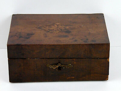 Antique JD Diffenbaugh Pre Civil War 1860 Inlaid Wood Confectionery Candy Box