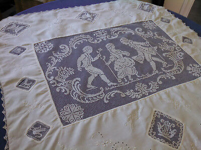 Vintage Antique Figural Lace and Linen Cloth / As Is