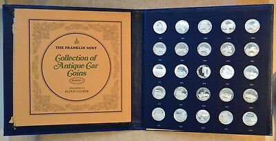 Franklin Mint Collection Of Proof Sterling Silver Antique Car Coins - Series 1