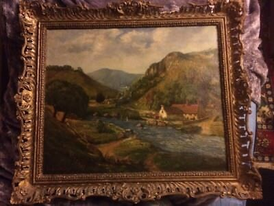 Large Antique Edwardian Signed Landscape Oil Painting In Gilt Gesso Frame