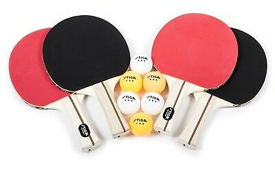 NEW 4-PLAYER TABLE Tennis Racket Set Red Black Ping Pong Doubles By ...