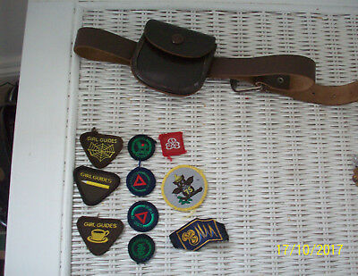 Vintage Girl Guide  Badges And Brownie Leather Belt/purse