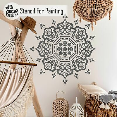 BUKHARA Mandala Indian Circular Stencil Furniture Wall Floor Stencil for Paint