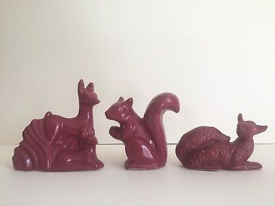 Vintage Art Deco 1930's Niloak Rare Dark Rose Art Pottery Animal Collection Of 3