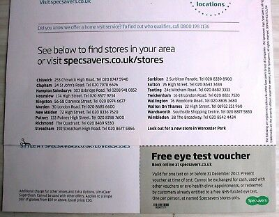 1 Specsavers Eye Test Voucher Coupon Valid to 31 December 2017 authentic