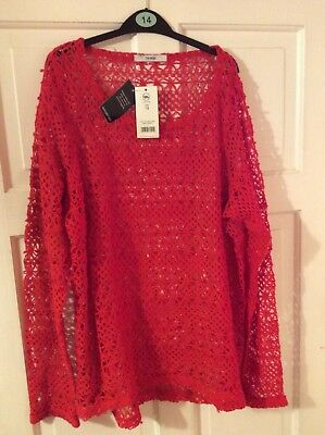 NEW Ladies Red Woven Top Jumper George Size 14 With Tags FREE P&P