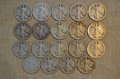 Roll Of 1916-D Walking Liberty Half Dollars - About Good Details - 19 Coins