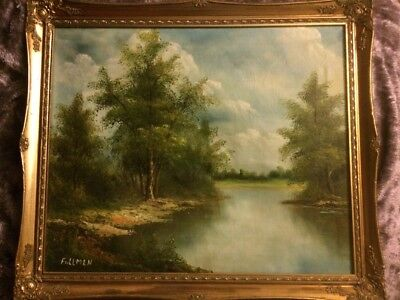 Large Stunning Vintage Oil Painting Signed By Fullmen In Gold Gilt Frame