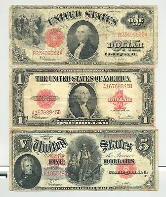 high grade $1 1923, $1 1917 and $5 Series 1907 Woodchopper United States Notes