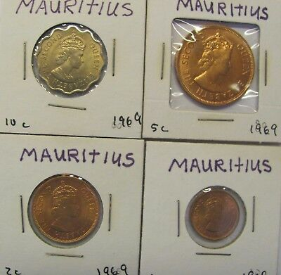 Lot of 4 Mauritius coins 1969, 1, 2, 5, 10 Cents KM#s 31, 32, 34 & 33  - UNC