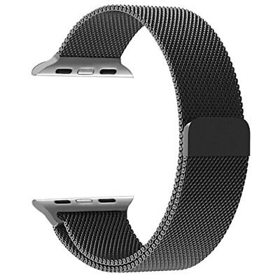 Apple Watch Band iWatch 42mm Milanese Loop Stainless Steel Magnetic BLACK