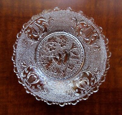 "Lacy Sandwich Cup Plate, Valentine, Authentic Original with Fine ""Ring"". c. 1830"