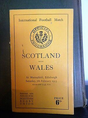 Scotland v Wales Rugby programme 1953