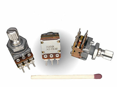 [5pcs].NOBLE 50k STEREO POTENTIOMETER, DUAL TAPER Log A Volume Control FOR AUDIO
