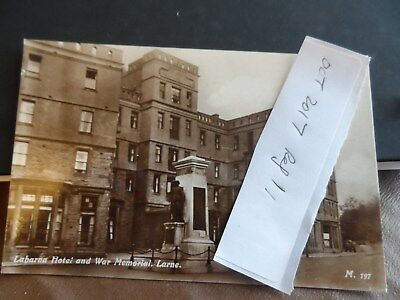 larne postcard antrim ireland real photograph labarna hotel & war memorial  M197