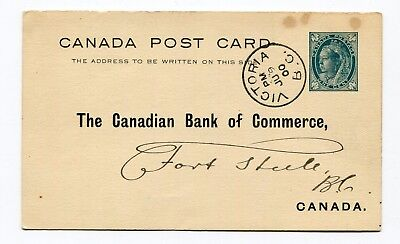 Canada BC British Columbia - Victoria 1900 CDS Postcard to Fort Steele - Bank PC