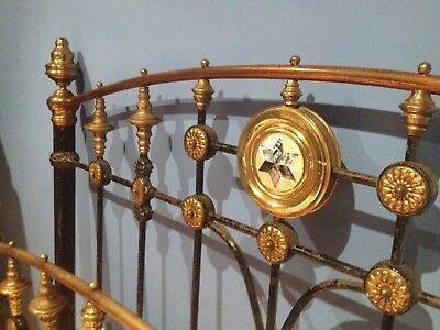 Victorian Cast Iron and Brass Bed with Mother of Pearl Detailing