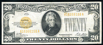 Fr. 2402 1928 $20 Twenty Dollars Gold Certificate Very Fine+