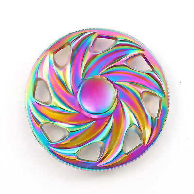 Rainbow Colorful Metal Round Flower Tri Spinner Fidget Hand Toy Stress Spinners
