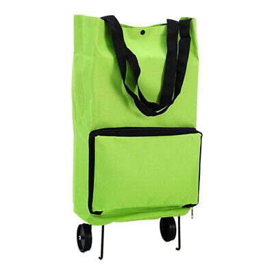 Portable Shopping Trolley Bag With Wheels Foldable Cart Rolling Grocery Gre L1C4