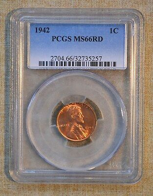 1942 Lincoln Wheat Cent - Pcgs Slabbed - Ms66Rd