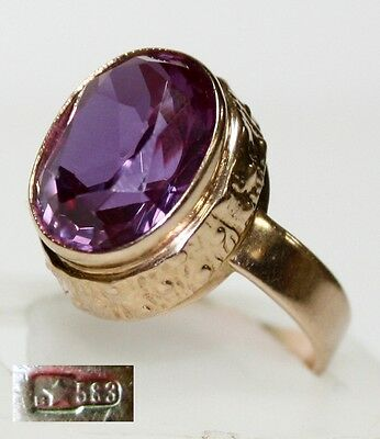 Beautiful Vintage 14K GOLD RING 583 star stamp stone AMETHYST SIZE 6 USSR 5.68g