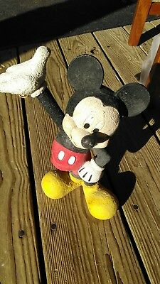 Vintage 10 inch hand painted Mickey Mouse Lawn Ornament Disney
