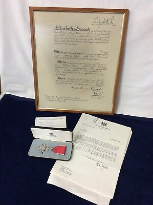 1987 M.B.E Medal Downing Street Letters Signed Queen Elizabeth British Aerospace