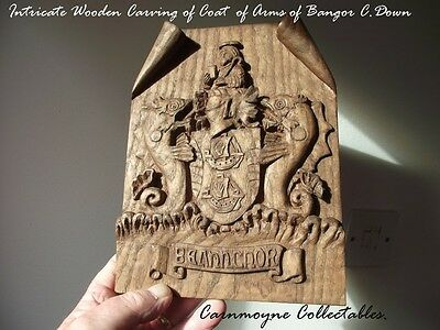 Intricate Wood Carving of Bangor Coat of Arms Co. Down.AH8677.