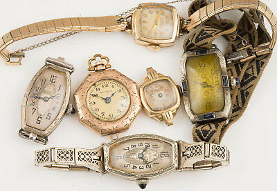 Vintage Gold Filled Plated Manual Wind Ladies Watches For Parts Repair!