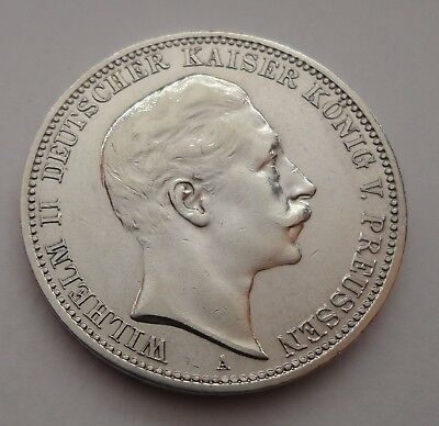 GERMANY German empire PRUSSIA 1909 WILHELM II 3 MARK SILVER COIN